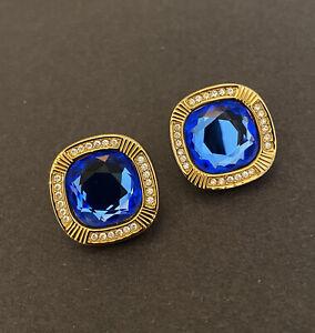 SWAROVSKI S.A.L. Vintage Clip Earrings Square Shape Light Blue/Gold Tone