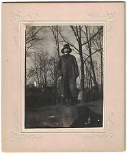 Cabinet Photo of Interesting Man Trench Coat on Log Wooded Area 1880s with Name