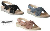 Womens ladies Slingback Criss Cross comfort Soft FootBed casual Wedge sandals UK