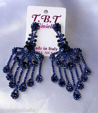Flamenco orecchini lunghi nero Strass,zircone,cristalli,da Donna,blu mezza luna
