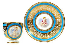 More details for antique brown westhead moore porcelain cup and saucer frolicking putto circa 186