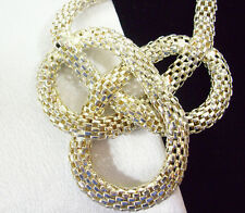MESH KNOT Silver Plate Necklace Chain Big Bold Vintage Estate Career Stunning