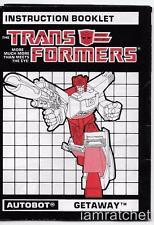 Transformers Original G1 Powermaster Getaway Instructions