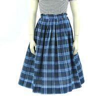 Vintage 50s Black + Blue Preppy Plaid High Waist Crisp Cotton Rockabilly Skirt M