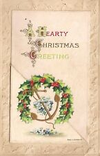 """Hearty Christmas Greeting"" Foldout Message Christmas Postcard"
