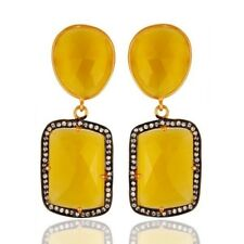 Gold Plated Jewelry 925 Sterling Silver Yellow Moonstone Drop Earrings Jewelry
