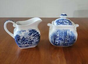 "Staffordshire ""Liberty Blue"" Sugar Bowl w/ Lid and Creamer - Ironstone - England"