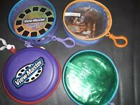 Lot of 4 View-Master Soft Storage Case Holds 48 Reels Mattel Zipper Clip-On RARE