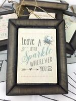 East Of India Shabby Chic Vintage Grey Framed Hanging Plaque Sparkle 384 EOI