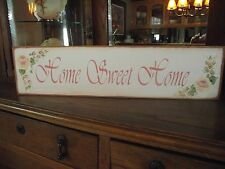 HOME SWEET HOME     HP Shabby Roses  Cottage Chic Primitive Wood Sign