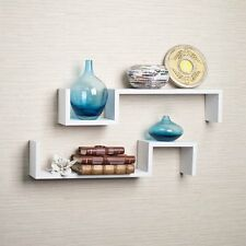 Floating Wall Mount Shelves (Set of 2), Contemporary Decor, Storage Shelf, White