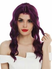 Wig Ladies Women Long Wavy Middle Part Purple Red Highlights Wig