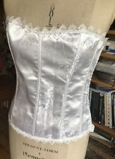 SIZE MEDIUM WHITE SATIN CORSET LACE DETAIL HOOK & EYES & RIBBON FASTENING