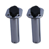 2PCS Stainless Steel Boat Fishing Rod Holder 15 Degree Flush Mount Rod Pod