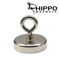 FISHING MAGNET 400LBS. PULL FORCE STRONG ROUND NEODYMIUM RECOVERY HIPPO MAGNET