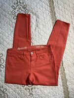 🎼Madewell Women's Jeans Size 26 Skinny Ankle Stretch Coral Peach EUC #1