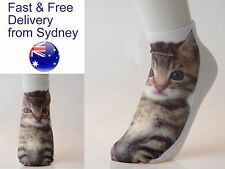 Cute kitten low cut socks - tabby feline cat footware novelty gift present sock