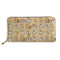 Shiba Inu Dog Long Wallet PU Purse Cards Phone Holder Womens Zip Around Handbags