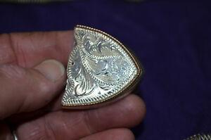 FINEST QUALITY FLEMING Sterling Silver Dress Belt Buckle Tip * FLORAL ENGRAVED