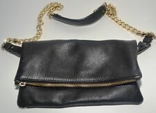 MASSIMO DUTTI CROSS BODY MESSENGER LEATHER BAG BLACK FOLD OVER CHAIN STRAPS