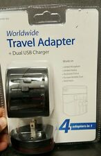 New,Worldwide Travel Adaptor with Dual USB Charger - Retail Packaging - Black