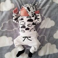 3PCS Set Newborn Baby Girl Boy T-shirt Tops Pants Trousers Hat  Outfits Clothes
