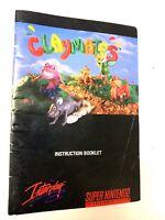 Claymates SUPER NINTENDO SNES Original Instruction Manual Booklet Book ONLY!
