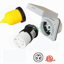 RV 30Amp 125V Power Inlet Female Twist Locking Connector Weatherproof Boot Kit