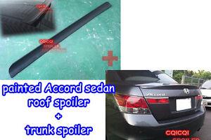 Painted Honda 08-12 ACCORD 8th Sedan roof spoiler + OEM type trunk spoiler ◎