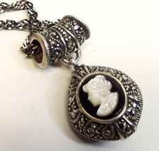 Vtg Sterling Silver Cameo Pendant Necklace Studded Marcasite Signed MOP Ornate