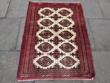 Old Hand Made Traditional Persian Turkoman Oriental Wool Small Rug 135x104cm