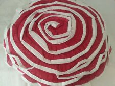 CYNTHIA ROWLEY RUFFLE ROSE FLOWER DECORATIVE PILLOW ~  RED