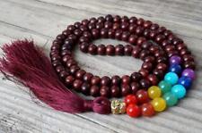 Rosewood mala buddha prayer beads tassel meditation 7 chakra necklace yoga 108