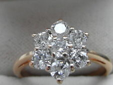 Q165 Brand New Ladies 18ct gold 0.75 carat colour D VS Diamond daisy ring size O