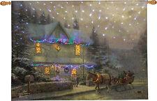 Victorian Christmas IV Fiber Optic Tapestry Wall Hanging ~ Thomas Kinkade