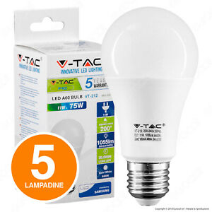 5 LAMPADINE LED V-Tac PRO E27 Bulb A60 11W Chip Samsung Luce 3000K 4000K 6400K