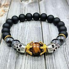 """HIP 8""""L SKULL KINGS 10mm Matte Onyx+Hematite+Tiger Eye Gemstone Beaded Bracelet"""