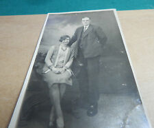 Real photo Father and Daughter 1920s sepia unposted Ao1