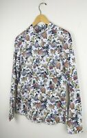 Asos White Vintage Floral Print Cotton Blouse Shirt Size M Grandad Collar