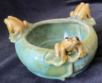 Green Celadon Glazed Ceramic Planter with Frogs Toads