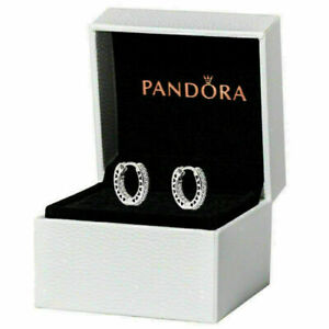 New Genuine Pandora  Hoop Earrings Stub S925 With Box- 296317CZ