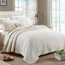 Floral 100% Cotton Bedspread Beige Queen King Bed Coverlet Set Quilted AC445 New