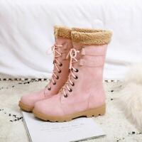 Women Winter Trendy Fur Trim Lace Up Ankle Boots Low Heel Warm Snow Boots FK15