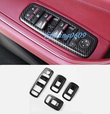 4PCS Carbon Fiber Inner Window Switch Panel Trim For Maserati Ghibli 2014-2017