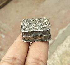 ANTIQUE 1800s HAND CRAFTED RARE ISLAMIC ROYAL SILVER QURAN AMULET BOX