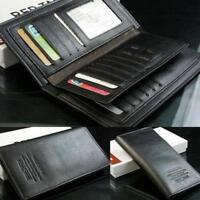 Black Men's Long Leather Wallet Pockets Money Purse ID Credit Card Clutch Bifold