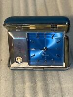 MINTY VINTAGE BULOVA LITE-ALARM TRAVEL CLOCK Blue Silver lighted WORKING