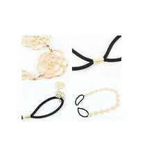 Gold Elastic Chain Rose Flower Hollow Hair Band Headband Women Jewelry