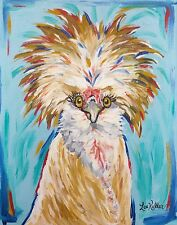 Colorful Chicken art Print, rooster art 8x10, chicken print signed by artist