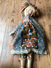 Vintage Rag  cloth doll with dormed face in original 60's 70's dress.